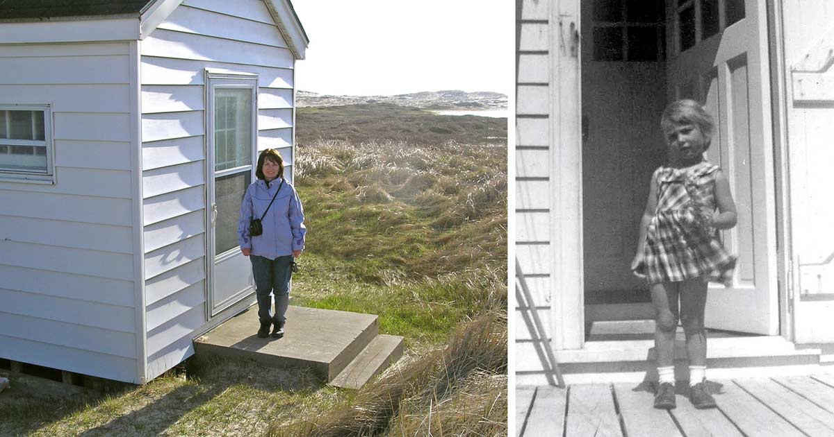 Two photos. One, a house with white siding and concrete doorsteps shown in 2008. The other shows the same backdoor in the 1960s, and a young girl with her fair hair and plaid cotton dress fluttering in the wind.